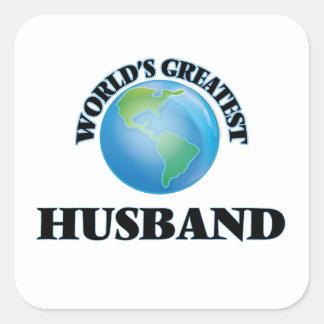 El marido más grande del mundo pegatina cuadrada