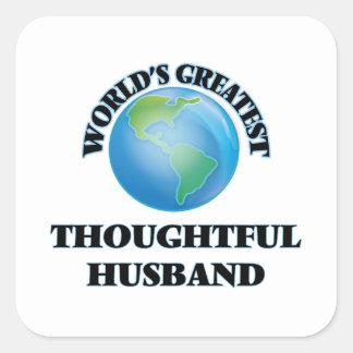 El marido pensativo más grande del mundo pegatina cuadrada