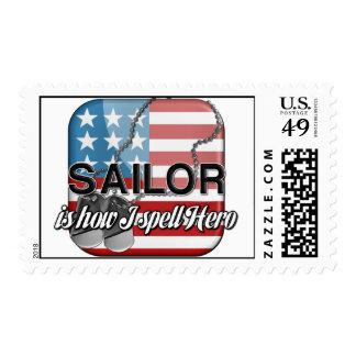 El marinero es cómo deletreo al héroe sello
