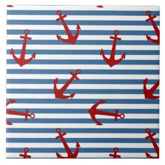 El marinero raya arte del modelo azulejo cuadrado grande