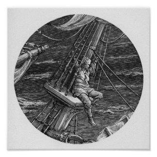 El marino en alto en el impulso de la nave impresiones