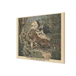 El marqués de Barthelemy hirió por un tigre Impresión De Lienzo