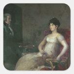 El Marquesa de Villafranca Painting su marido Calcomania Cuadrada Personalizada