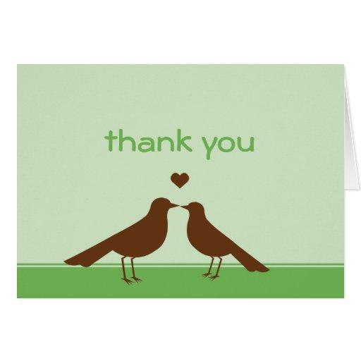 El marrón contemporáneo del verde de los pájaros tarjeta pequeña