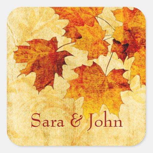 el marrón del otoño de la caída deja el sello del  colcomanias cuadradass