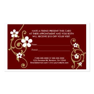 El marrón floral blanco refiere tarjetas de una vi plantillas de tarjetas personales