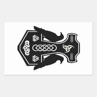 El martillo del Thor céltico pagano de los Pegatina Rectangular