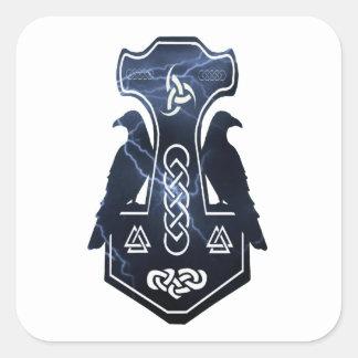 El martillo del Thor de la iluminación Pegatina Cuadrada
