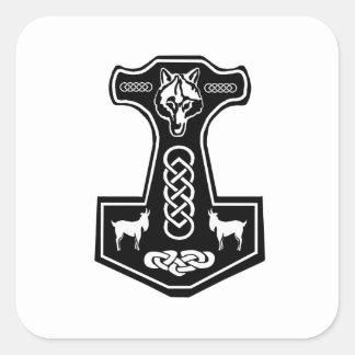 El martillo del Thor pagano con el lobo y las Pegatina Cuadrada