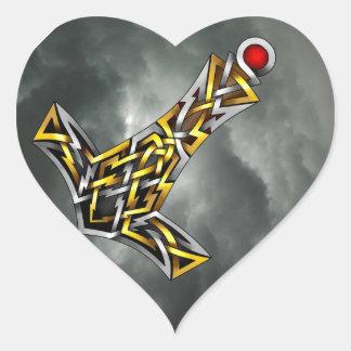 El martillo del Thor Pegatina En Forma De Corazón