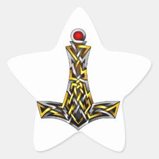 El martillo del Thor Pegatina En Forma De Estrella