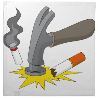 El martillo machaca el cigarrillo servilletas