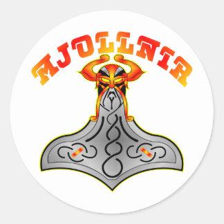 El martillo Mjollnir del Thor Pegatina Redonda