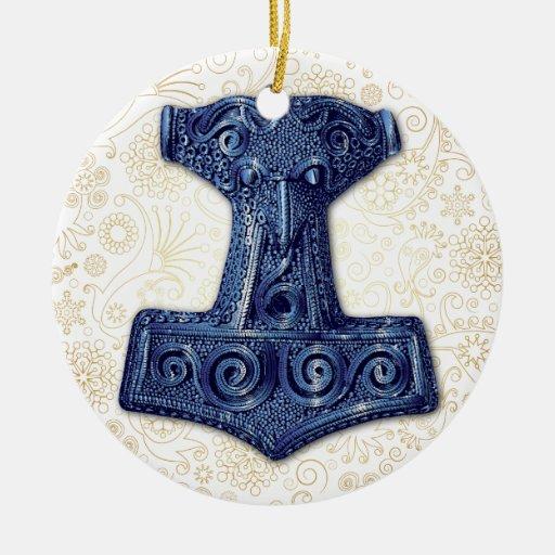 El Martillo-Mjölnir del Thor en el azul - Adorno Navideño Redondo De Cerámica