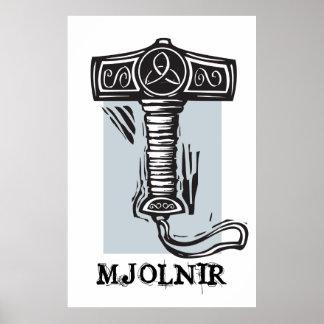 El martillo Mjolnir del Thor Posters