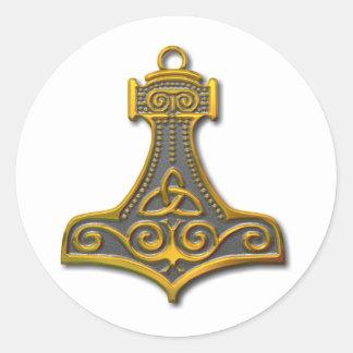 El Martillo-oro del Thor Pegatina Redonda