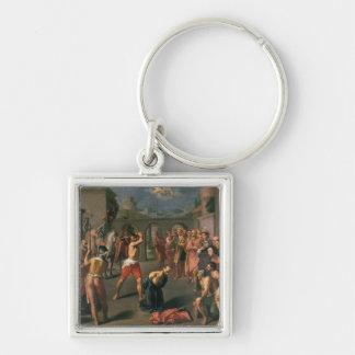 El martirio de San Pablo Llavero Cuadrado Plateado