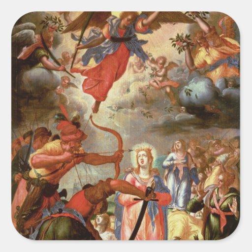 El martirio de Santa Ursula, comienzo del siglo Calcomanía Cuadradas Personalizada