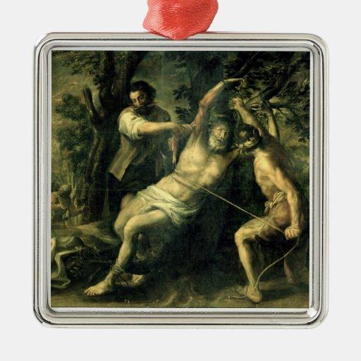 El martirio de St Bartholomew 2 Adorno Cuadrado Plateado