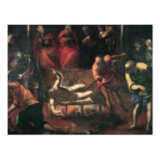 El martirio de St. Lazarus por Tintoretto Tarjeta Postal