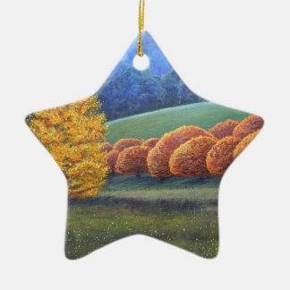 El marzo de los árboles de roble brillantes adorno navideño de cerámica en forma de estrella