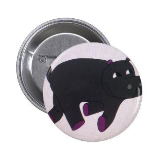 El más feliz del botón de los hipopótamos pin redondo de 2 pulgadas