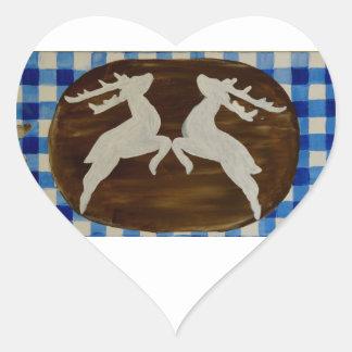 el más ktoberfest - ciervos con la genciana en pegatina en forma de corazón