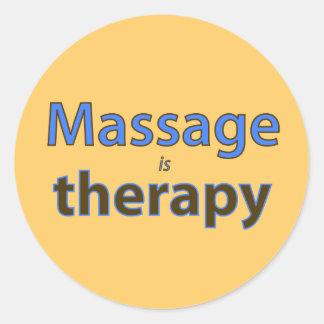 El masaje es terapia etiquetas redondas