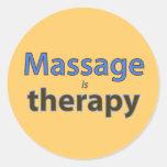 El masaje es terapia pegatina redonda