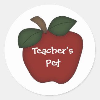 El mascota/Apple rojo del profesor Pegatina Redonda