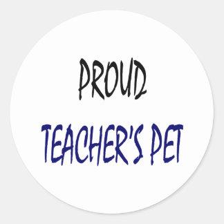 El mascota del profesor orgulloso pegatina redonda