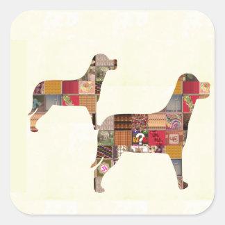 El mascota pintado de los regalos de los PERROS Pegatina Cuadradas Personalizada