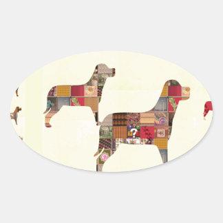 El mascota pintado de los regalos de los PERROS Pegatina De Oval Personalizadas