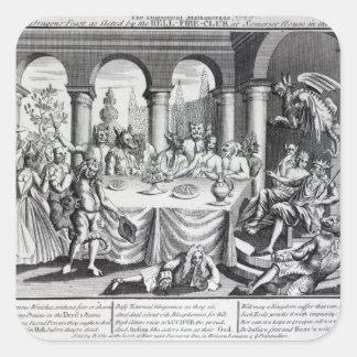 El maskquerade diabólico pegatina cuadrada