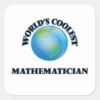El matemático más fresco del mundo calcomania cuadradas personalizadas