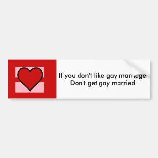 El matrimonio homosexual endereza a la pegatina pegatina para auto