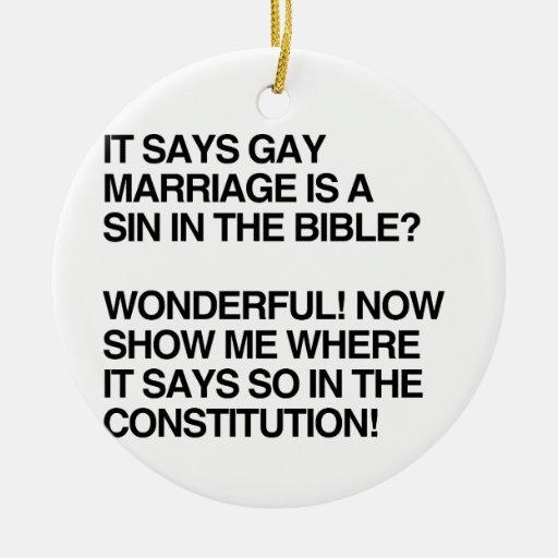EL MATRIMONIO HOMOSEXUAL ES UN PECADO EN LA BIBLIA ADORNO DE NAVIDAD