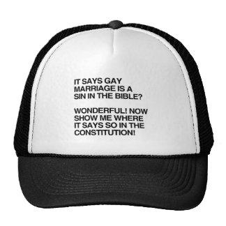 EL MATRIMONIO HOMOSEXUAL ES UN PECADO EN LA BIBLIA GORROS BORDADOS