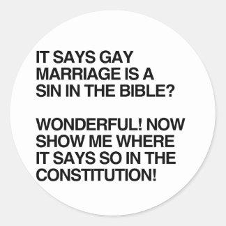 EL MATRIMONIO HOMOSEXUAL ES UN PECADO EN LA BIBLIA PEGATINA