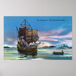 El Mayflower que aterriza en 1620 escena Póster