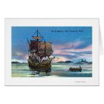 El Mayflower que aterriza en 1620 escena Tarjeta De Felicitación