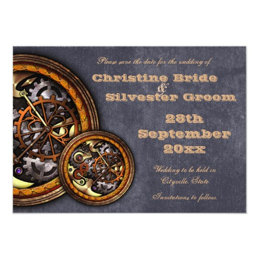 El mecanismo y el cuero, 5x7 ahorran la fecha invitación 12,7 x 17,8 cm