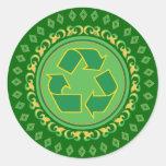El medallón recicla la muestra pegatinas redondas