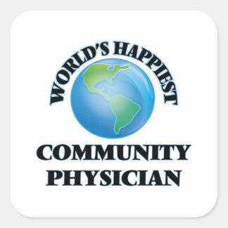 El médico más feliz de la comunidad del mundo pegatina cuadrada