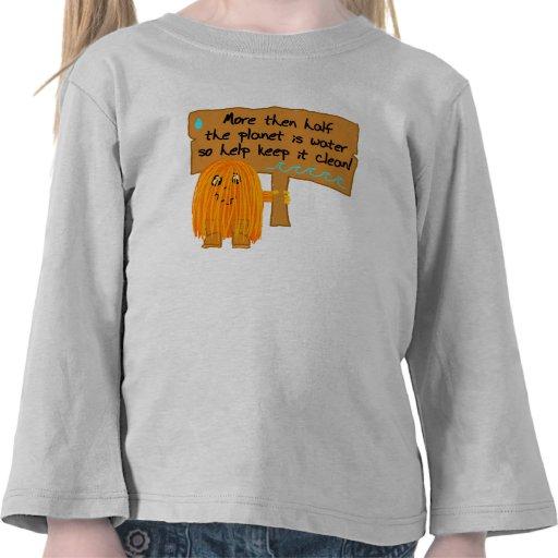 el medio planeta anaranjado es agua camisetas