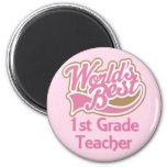 El mejor 1r profesor del grado de los mundos imán redondo 5 cm