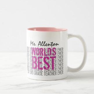El mejor 3ro profesor del grado añade el rosa gris taza de café de dos colores