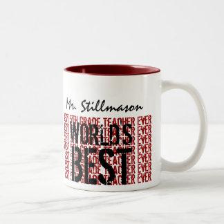 El mejor 5to regalo del profesor del grado del mun taza