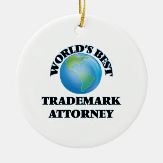 El mejor abogado de la marca registrada del mundo adorno navideño redondo de cerámica