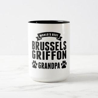 El mejor abuelo de Bruselas Griffon del mundo Taza Dos Tonos